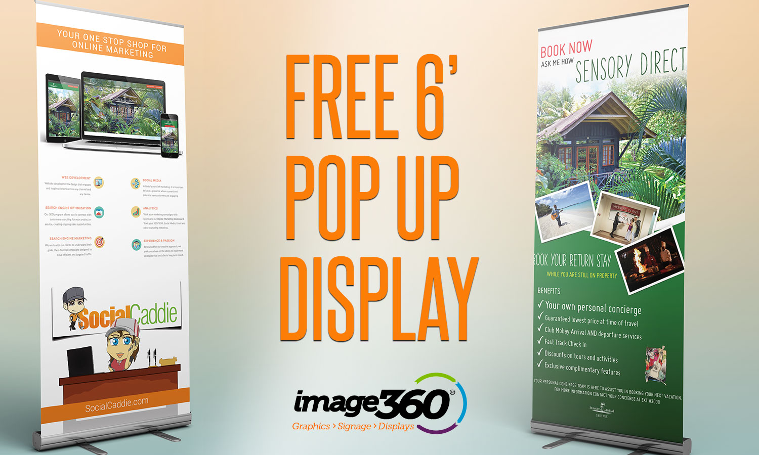 Increase Your Offline Exposure with a  Free 6′ Pop Up Banner